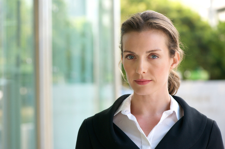 Photo for Close up portrait of an attractive business woman with serious face expression - Royalty Free Image