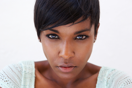 Photo for Close up portrait of an african american female fashion model face - Royalty Free Image