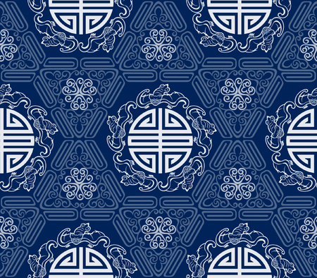 Photo for Seamless Chinese Pattern Of Five Blessings Longevity And Lucky And Bat Symbols - Royalty Free Image