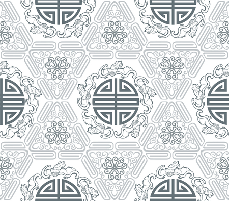 Seamless Chinese Pattern Of Five Blessings Longevity And Lucky And Bat Symbols