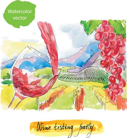 Wine testing party watercolor vector
