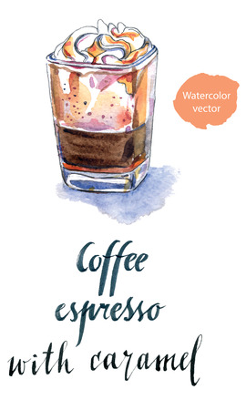 Glass of coffee espresso with caramel, hand drawn - watercolor vector Illustration