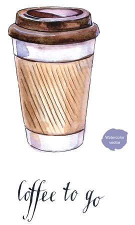 Ilustración de Take-out coffee with cup holder, hand drawn - watercolor Illustration - Imagen libre de derechos