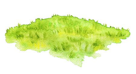 Green lawn isolated on white background. Watercolor hand painted illustration