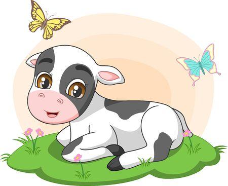 Illustration pour Vector illustration of Cute little cow sitting in the grass - image libre de droit