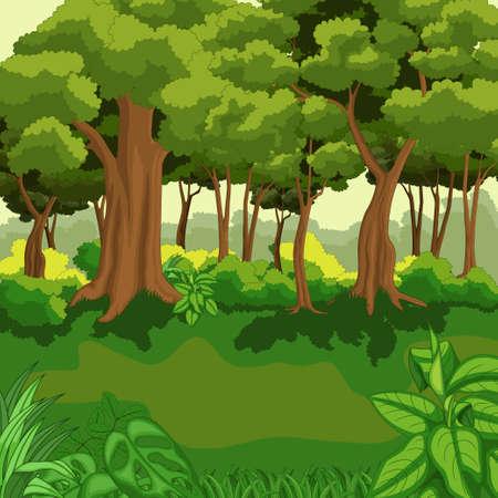 Illustration pour Beautiful green jungle with plants - image libre de droit