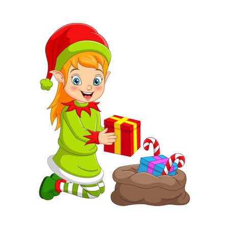 Ilustración de Cartoon Christmas elf with bag of gifts - Imagen libre de derechos