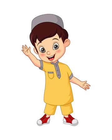 Illustration pour Happy Muslim boy cartoon on white background - image libre de droit