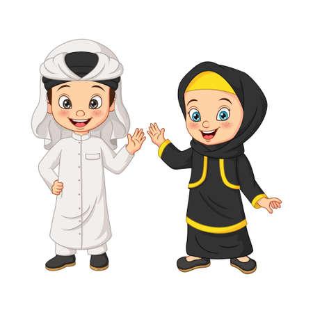 Illustration for Cartoon happy Muslim Arabian kids - Royalty Free Image