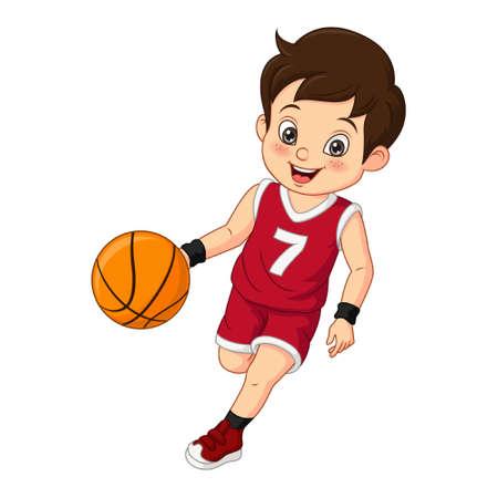 Vektor für Cartoon cute little boy playing basketball - Lizenzfreies Bild