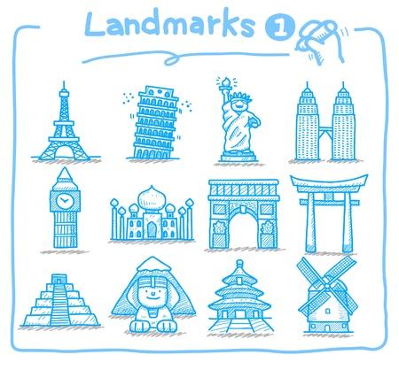 hand drawn landmark icons