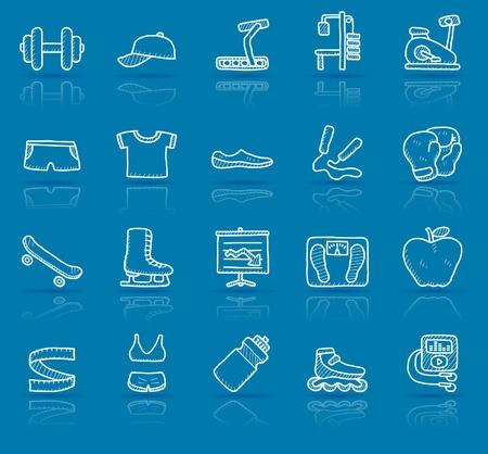 Illustration pour hand drawn fitness icon set  - image libre de droit