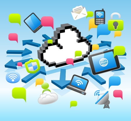 Vector cloud computing,communication, Tablet PC, Laptop, and Mobil Phone concept