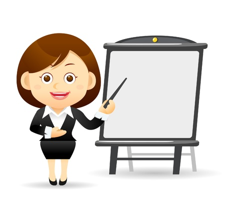 Beautiful business woman with pointer and chart board