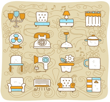 Hand drawn furniture,indoors, icon set