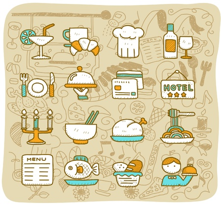Hand drawn restaurant,food, travel icon set