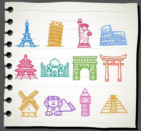 hand drawn landmark, travel,holiday,Vacations  icon set