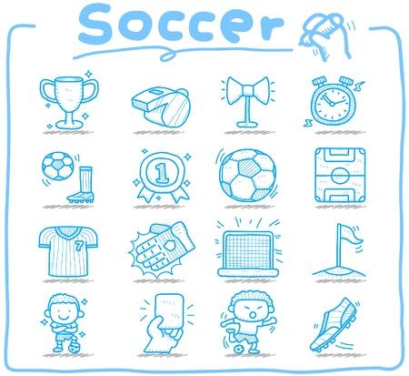 Ilustración de Hand drawn soccer,sport icon set - Imagen libre de derechos