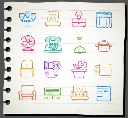 Hand draw Furniture icon set