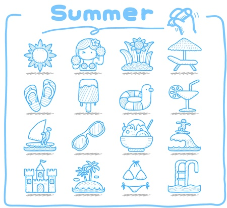 Pure Series   Hand drawn Summer , Season  icon set