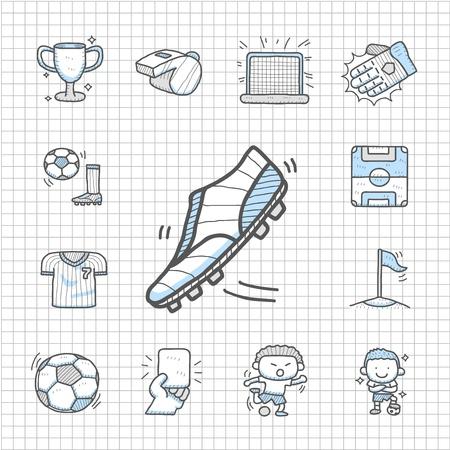 Ilustración de Spotless series   Hand drawn Soccer icon set - Imagen libre de derechos