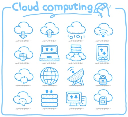Pure Series   Hand drawn cloud computing  icon set