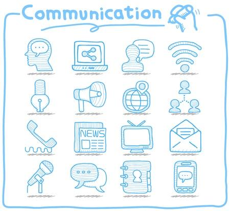 Photo pour Pure Series   Hand drawn Communication , Network icon set - image libre de droit
