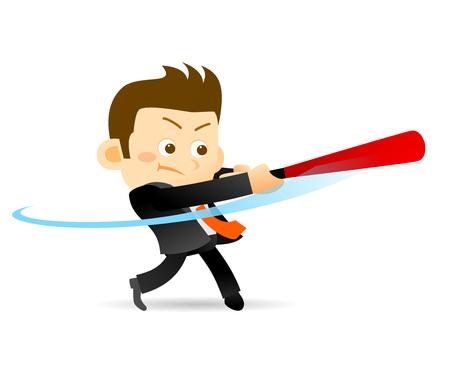 illustration of cartoon businessman with baseball bats