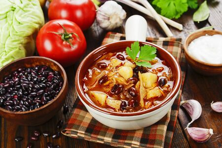 Photo for Cabbage soup with red beans.Traditional russian cuisine - Royalty Free Image