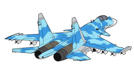 Ilustración de Modern Russian jet fighter aircraft. - Imagen libre de derechos
