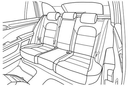 Illustration pour The machine inside. The interior of the vehicle, back seat. Vector illustration of the lines. - image libre de droit