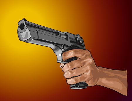Illustration pour Gun in hand - hand drawn vector, isolated on color - image libre de droit