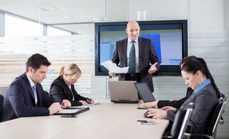 Boss in a bad mood because of bad results, telling his employees they
