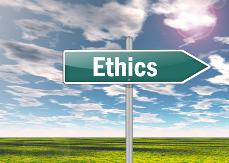 Signpost with Ethics wording