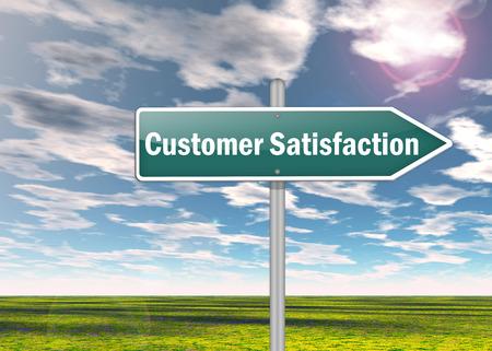 Signpost with Customer Satisfaction wording