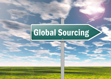 Signpost with Global Sourcing wording
