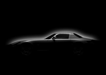 Photo pour Side view of sport car in a dark background - image libre de droit