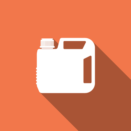 Illustration pour Plastic canister for motor machine oil icon isolated with long shadow. Oil gallon. Oil change service and repair. Engine oil sign. Flat design. Vector Illustration - image libre de droit