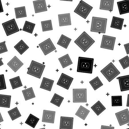 Ilustración de Black Electrical outlet in the USA icon isolated seamless pattern on white background. Power socket. Vector Illustration - Imagen libre de derechos