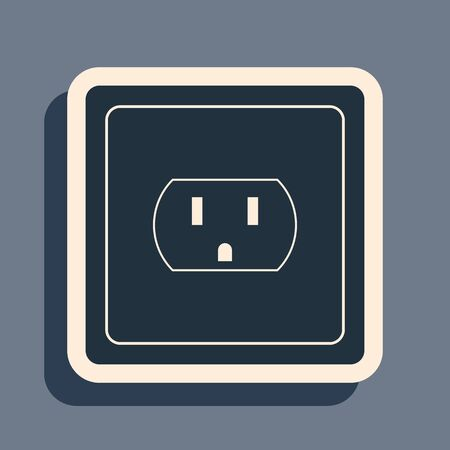 Ilustración de Black Electrical outlet in the USA icon isolated on grey background. Power socket. Long shadow style. Vector Illustration - Imagen libre de derechos