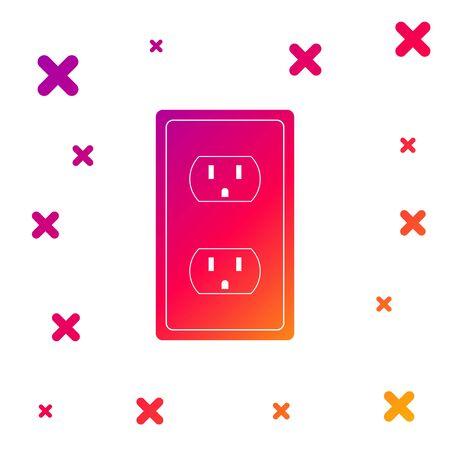 Ilustración de Color Electrical outlet in the USA icon isolated on white background. Power socket. Gradient random dynamic shapes. Vector Illustration - Imagen libre de derechos