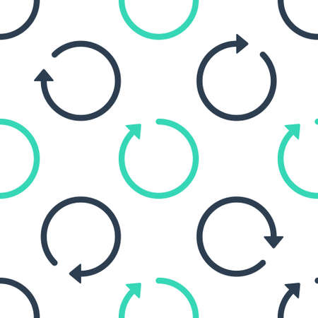 Illustration pour Green Refresh icon isolated seamless pattern on white background. Vector - image libre de droit