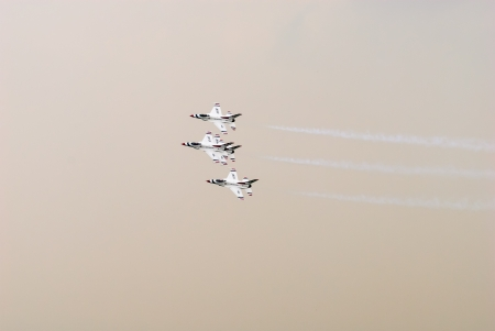 Bangkok, Thailand - October 9, 2009: United States Air Force Thunderbirds official military aerobatic team during an exhibition. The squadron tours the United States and much of the world, performing aerobatic formation and solo flying in specially marked