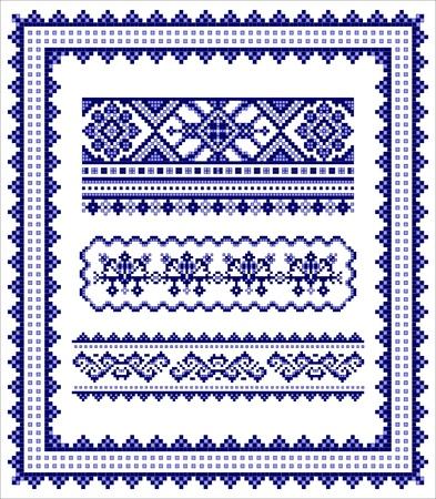 Ethnic cross stitch frame & borders pattern set