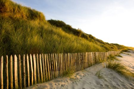fences on a beach in brittany