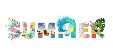 Ilustración de Illustrated Lettering Summer. Greens, fruits, beach and sea, bright and mouth-watering summer colors. Hello Summer! Vacation vector text. - Imagen libre de derechos