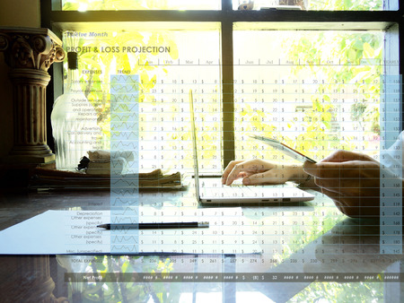 Twelve Month Profit & loss projection on workplace background. Profit $ loss concept
