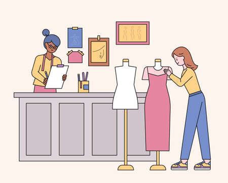 Illustration for Boutique shop designers and customers looking at clothes. flat design style minimal vector illustration. - Royalty Free Image