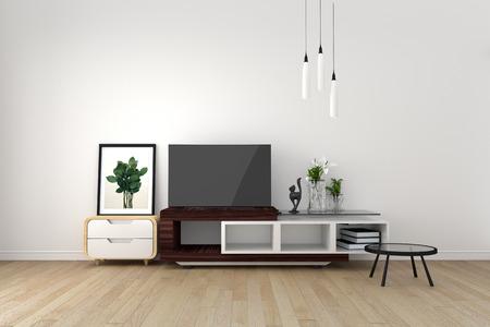 Foto de Smart TV Mock-up on empty room, living room tropical style. 3D rendering - Imagen libre de derechos