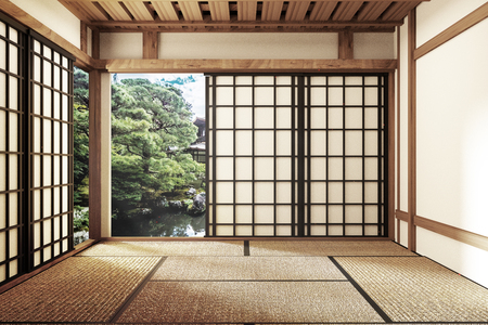 Foto de living room interior in and minimal design with Tatami mat floor and Japanese, empty room interior, 3D rendering - Imagen libre de derechos